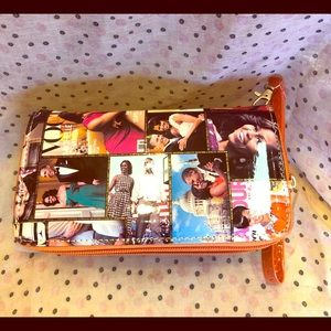 2 zipper Michelle Obama wallet  with orange trim